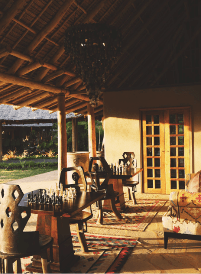 Relaxation area at FInch Hattons Luxury Safari Lodge in Kenya
