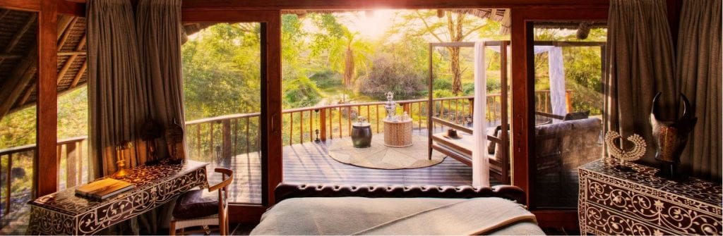 View from the bedroom of the Denys Finch Hatton Presidential Suite