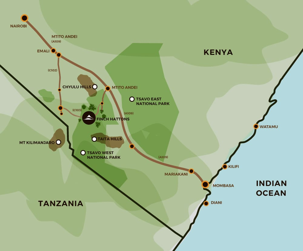 Map showing directions to visit Finch Hattons Luxury Tented Suite Lodge