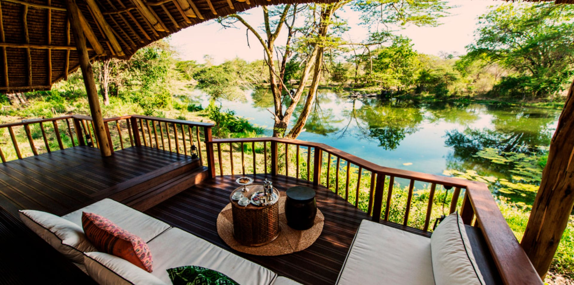 Viewing deck of the Luxury Tent suite at Finch Hattons Luxury Safari Camp Lodge
