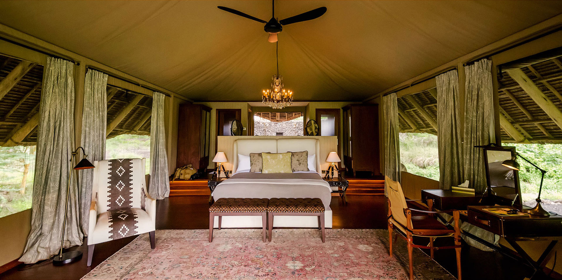 Luxury Tent at the Finch Hattons Lodge in Western Tsavo National Park, Kenya